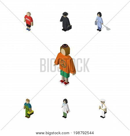 Isometric People Set Of Seaman, Lady, Detective And Other Vector Objects