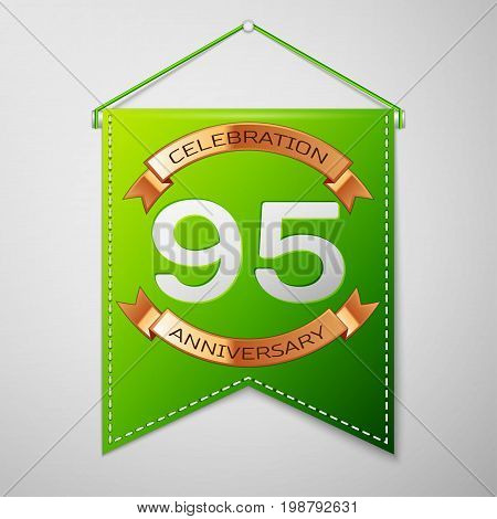 Realistic Green pennant with inscription Ninety five Years Anniversary Celebration Design on grey background. Golden ribbon. Colorful template elements for your birthday party. Vector illustration