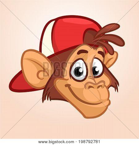 Cartoon monkey. Vector happy monkey head icon. Hip-hop character. Illustration isolated