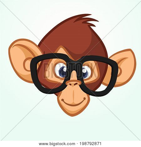 Happy cartoon monkey head wearing glasses. Vector icon of chimpanzee. Design for sticker icon or emblem