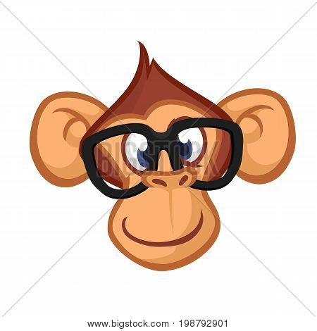 Happy cartoon monkey head. Vector icon of chimpanzee. Design for sticker icon or emblem