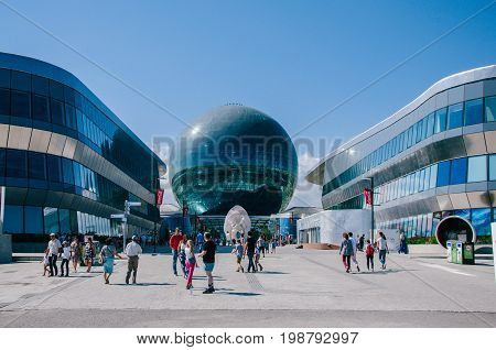 Astana Kazakhstan - August 06 2017: View of the Building of the International Specialized Exhibition