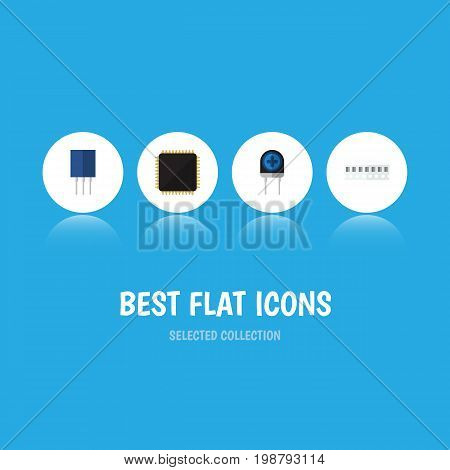 Flat Icon Device Set Of Transducer, Receptacle, Memory And Other Vector Objects