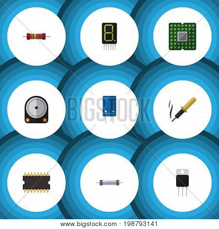 Flat Icon Electronics Set Of Repair, Receiver, Transistor And Other Vector Objects