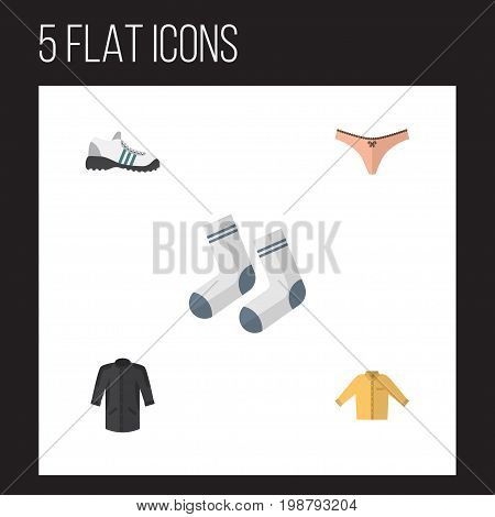Flat Icon Garment Set Of Lingerie, Banyan, Foot Textile And Other Vector Objects