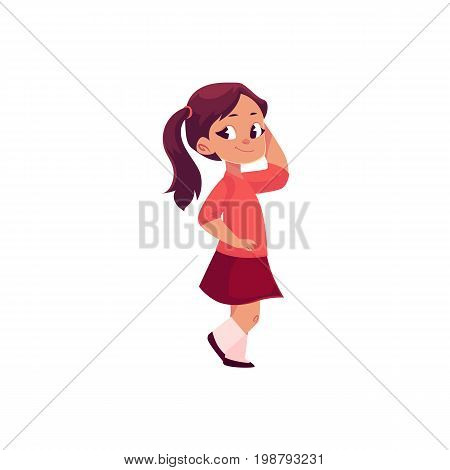 Full length portrait of half turned adorable little girl with ponytails, cartoon vector illustration isolated on white background. Cartoon little girl standing half turned, full length portrait