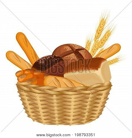 Basket filled with baked goods realistic style isolated vector illustration on white background. Wicker container with wheat ears and various types of bread
