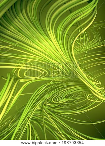 Abstract colored strands green lines pattern. 3D rendering