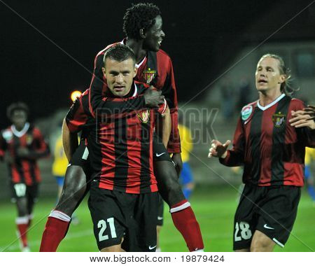 SIOFOK, HUNGARY - OCTOBER 3: Honved players celebrate a goal at a Hungarian National Championship soccer game Siofok vs. Budapest Honved October 3, 2008 in Siofok, Hungary.