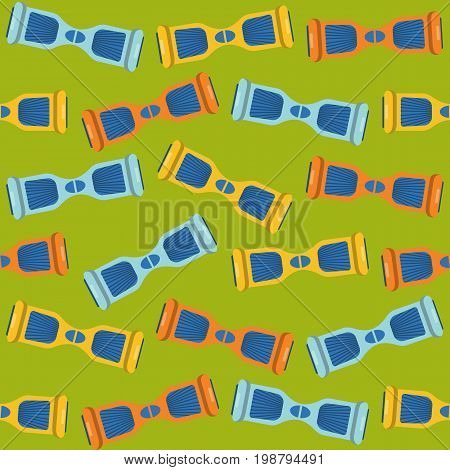 Flat style seamless pattern with gyroscope symbols. Modern hoverboard icons on green background,