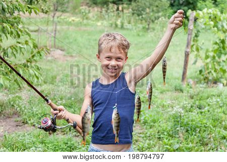 Young angler with tackle bass killer fisherman boy with fish perches caught on spinning with instantaneous reel