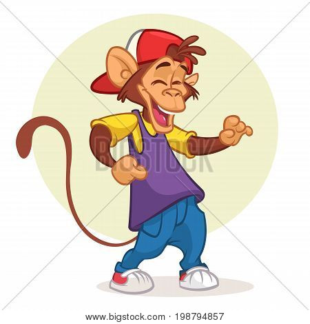 Cool pretty monkey dancing in modern clothes. Vector flat cartoon illustration. Chimpanzee mascot