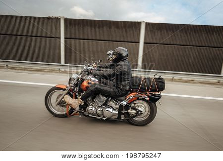 Krakow Poland - August 08.2016 Motorcyclists on а Yamaha Drag Star ride the highway Europe