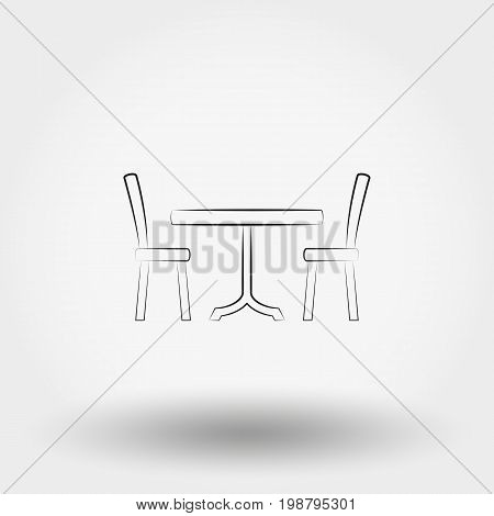 Dining table with chairs. Icon for web and mobile application. Vector illustration on a white background. Art Line.