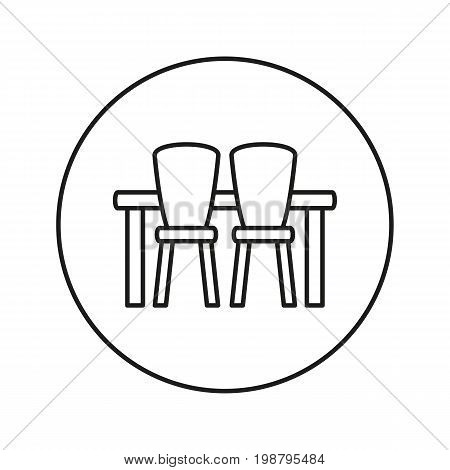 Dining table with chairs. Icon for web and mobile application. Vector illustration on a white background. Line.