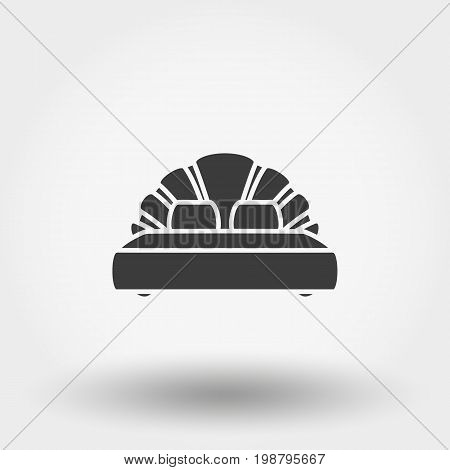 Double bed. Icon for web and mobile application. Vector illustration on a white background. Flat design style