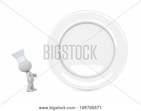 3D character with chefs hat looking at a large empty plate. Isolated on white background.