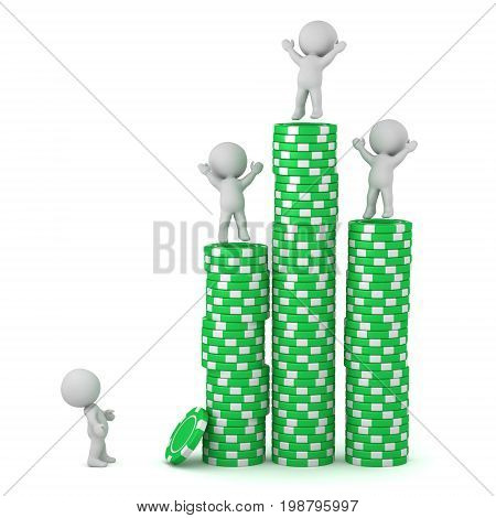 Several 3D characters with tall stacks of poker chips. Isolated on white background.