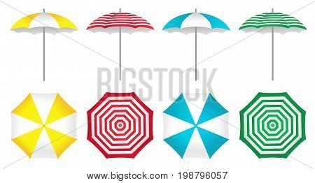 Colorful beach umbrellas set on a white background. Vector illustration