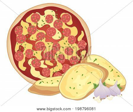 an illustration of a pepperoni pizza with crispy fresh garlic bread amd garlic bulbs on a white background