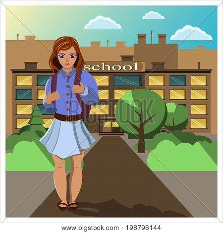 Schoolgirl in a skirt with a backpack goes from school on a clear sunny day. Flat vector illustration.