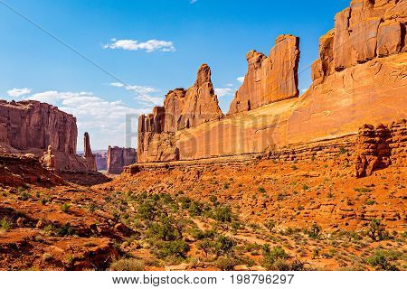 Park Avenue Trailhead view in Arches National Park Moab Utah