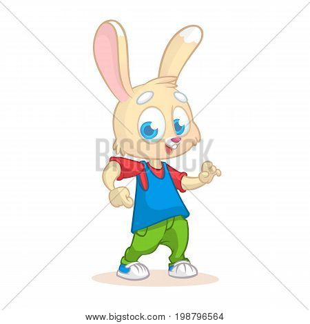 Cartoon rabbit dancing. Vector illustration of happy cartoon rabbit dancing disco or hip-hop. Design for mascot poster or icon.
