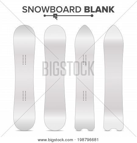 Snowboard Blank Vector. Empty Clean White Snowboards Template. Front, Back Sides. Isolated Illustration. Ski Resort Travel