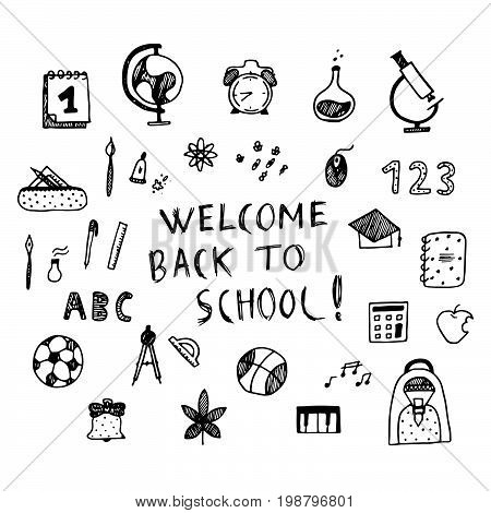 Welcome Back To School Poster. Hand Drawn Vector Illistration.