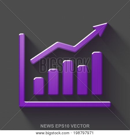 Flat metallic news 3D icon. Purple Glossy Metal Growth Graph icon with transparent shadow on Gray background. EPS 10, vector illustration.