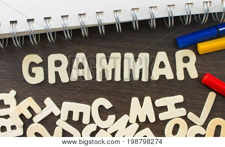 grammar learn language concept word from wooden letters