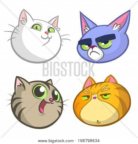 Cartoon Illustration of funny Cats ot Kittens Heads Collection Set. Vector pack of colorful cats icons. Cartoon grumpy Maine Coon siamese british and domestic