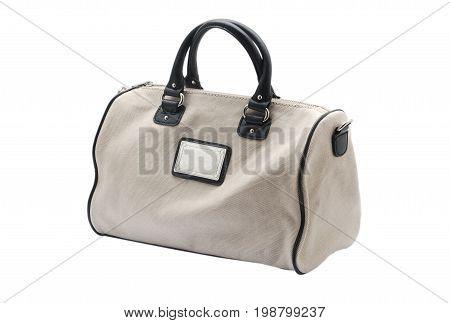 Gray women handbag isolated on white background