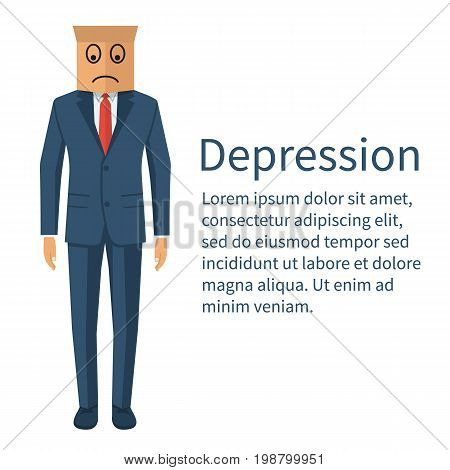 Dipression concept. Businessman in stylish suit with paper bag on head. Frown face. Crisis man cartoon. Sad human. Vector illustration flat design. Isolated on white background.