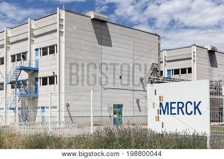 Meyzieu,  France - July 29, 2017: Merck plant in Meyzieu, France. Merck is a German multinational chemical, pharmaceutical and life sciences company headquartered in Darmstadt, Germany
