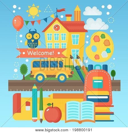 Back To School Banner with school building, bus and education icons. Vector Flat Illustration. School Education Concept. Vector illustration
