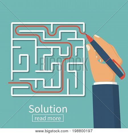 Solution of problem in case. Business concept. Find way out of maze. Businessman with pen leads line labyrinth. Choice way. Vector illustration flat design. Isolated on background. Achieving the goal.