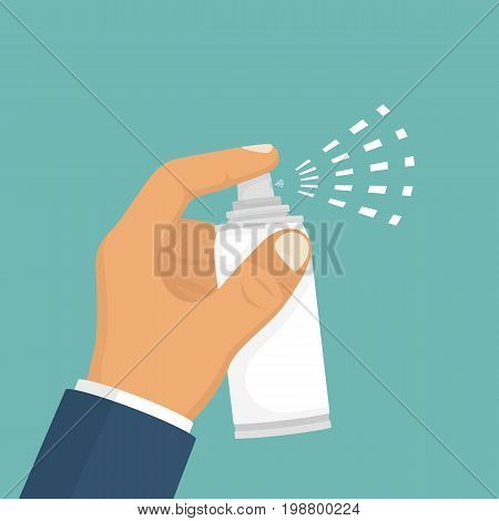 Spray in hand. Spray bottle. Spray canister hold man. Vector illustration flat design. Isolated on white background. Template for different gases, mixture, liquid. Aerosol can.
