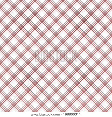 Geometric plaid diagonal line vintage seamless vector pattern. Retro tablecloth colors checkered red and white background.