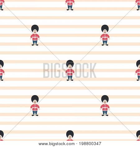 Queen guardsman cute seamless striped vector pattern. Red and blue on white pastel pink thin design background texture.