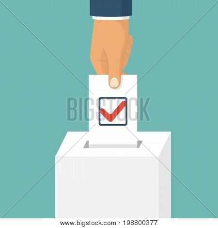 Voting, election concept. Vector illustration flat design style. Man hold in hand bulletin, puts in ballot box isolated. Casting vote. Politics poll, choice. Makes choice. Check mark on questionnaire.