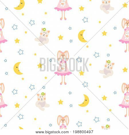 Pajamas pattern with tilda bunny, bear plush toy seamless vector. Cute child style textile fabric cartoon ornament background for bed linen, clothes and kid stuff.