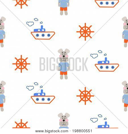 Marine boy pattern with sailor dog seamless vector. Cute child style textile fabric cartoon marine blue and orange background for bed linen, clothes and kid stuff.