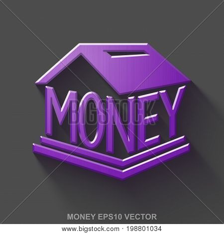 Flat metallic currency 3D icon. Purple Glossy Metal Money Box icon with transparent shadow on Gray background. EPS 10, vector illustration.