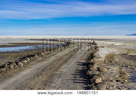 Road to nowhere in Uyuni Salt Flats