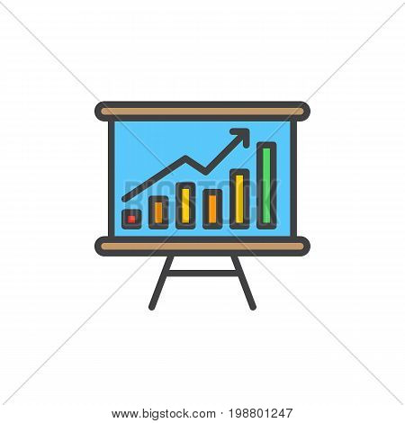 Whiteboard with growing chart filled outline icon, line vector sign, linear colorful pictogram isolated on white. Data Analytics Symbol, logo illustration. Pixel perfect vector graphics