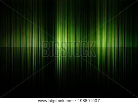 Green lines as abstract gradient background in the dark