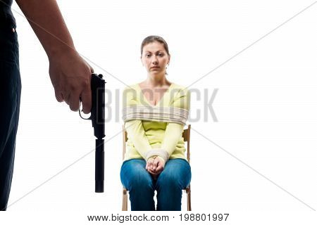 Conceptual photography - hostage and terrorist on white background