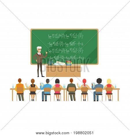 Professor near the blackboard with formulas talking to group of students during the university lecture, high school education vector Illustration on a white background