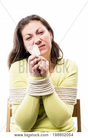woman hostage tear tape from the mouth